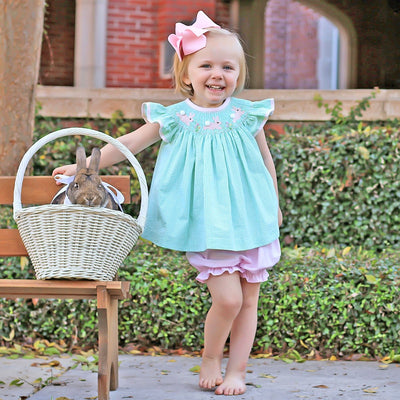 Bunny Garden Smocked Bloomer Set Mint Seersucker