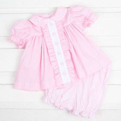 Bunny Silhouette Center Embroidered Bloomer Set Pink Gingham