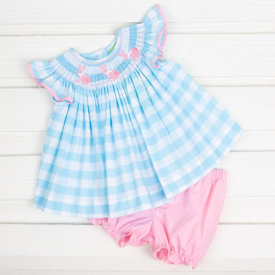 Bunny Silhouette Smocked Bloomer Set Turquoise Check