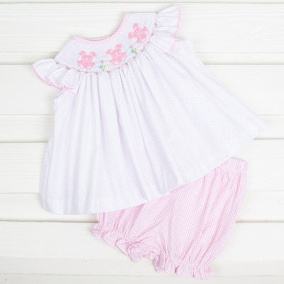 Bunny Smocked Bloomer Set Pink Dot