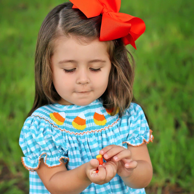 Candy Corn Smocked Bloomer Set Turquoise Check