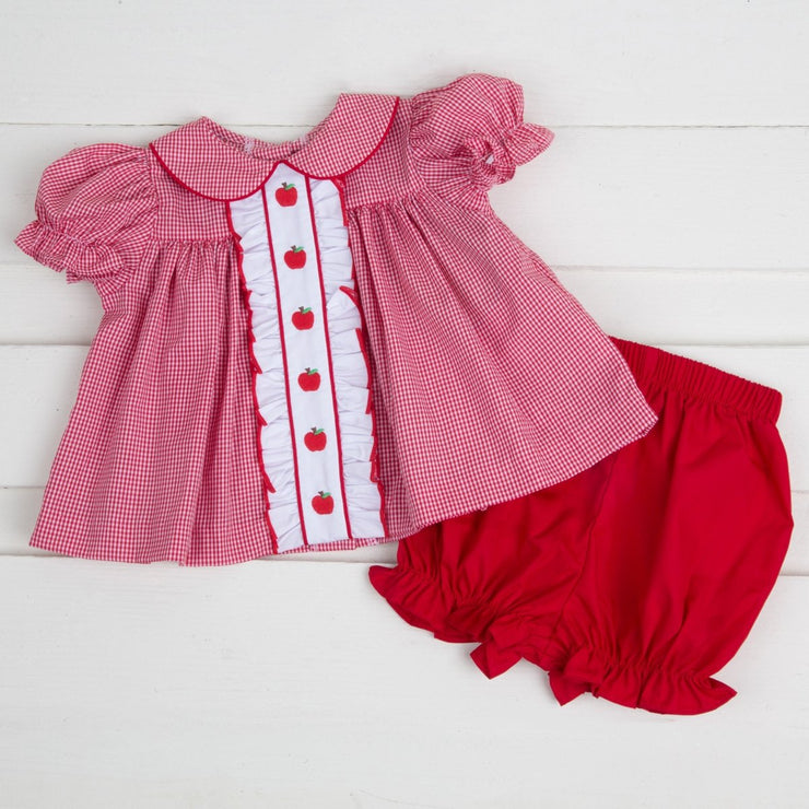 Center Embroidered Apple Bloomer Set Red Gingham