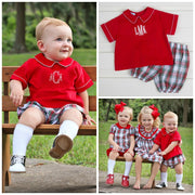 Cream Plaid William Bloomer Set Red Corduroy
