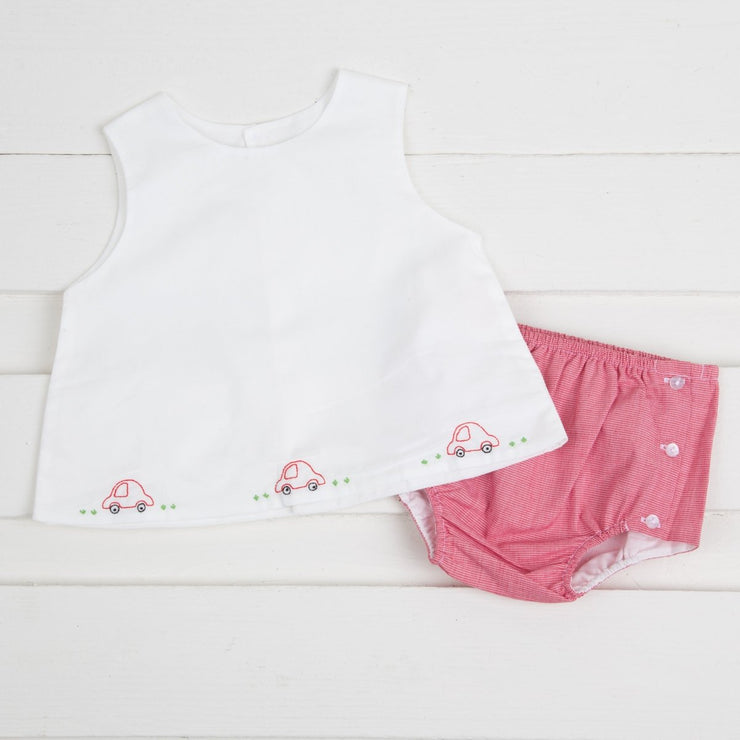 Embroidered Car Diaper Set Red Micro Gingham