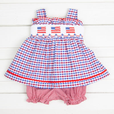 Flag Smocked Tie Back Bloomer Set Patriotic Plaid Seersucker