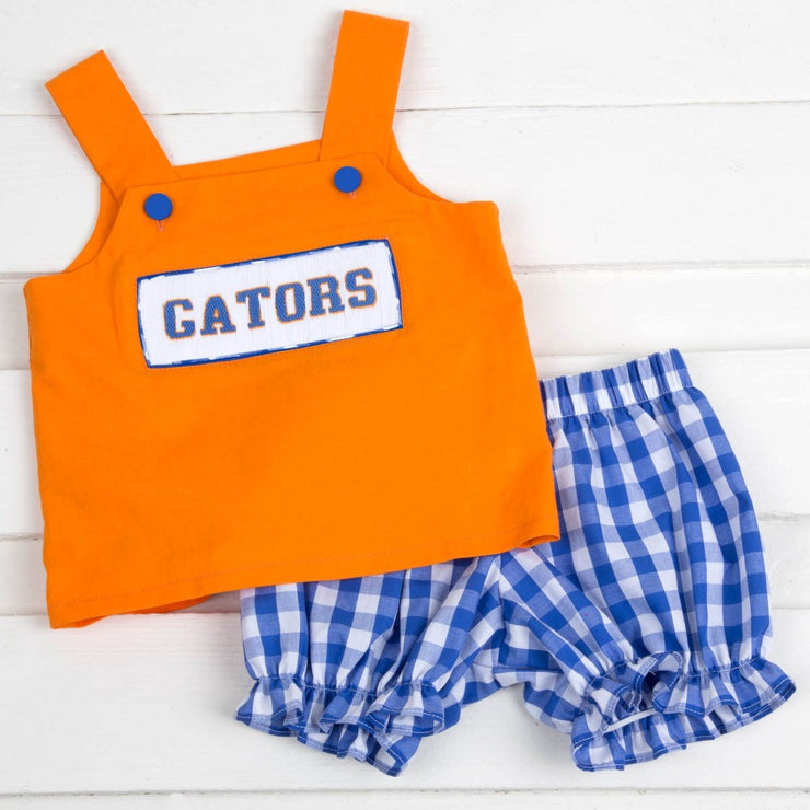 Gators Smocked Spirit Bloomer Set Orange Check