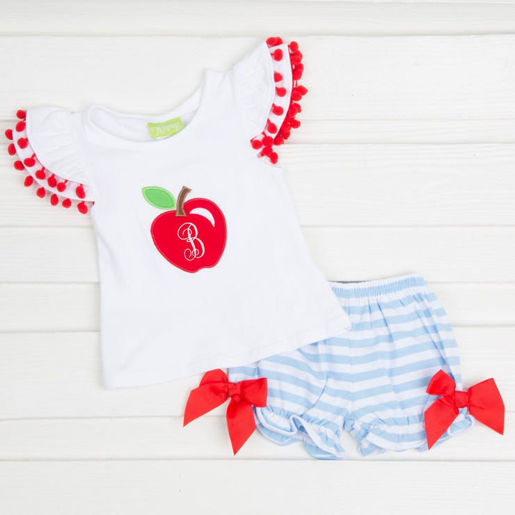 Light Blue Apple Bloomer Set Knit Stripe