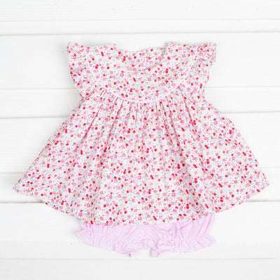 Lucy Bloomer Set Tiny Floral White and Pink