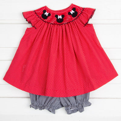 Mouse Ears Smocked Angel Sleeve Bloomer Set Red and White Dot