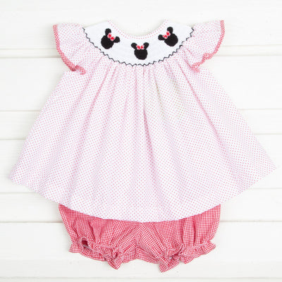 Mouse Ears Smocked Angel Sleeve Bloomer Set Red Dot