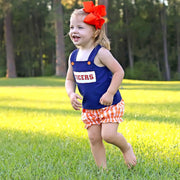 Navy Tigers Smocked Spirit Bloomer Set Check