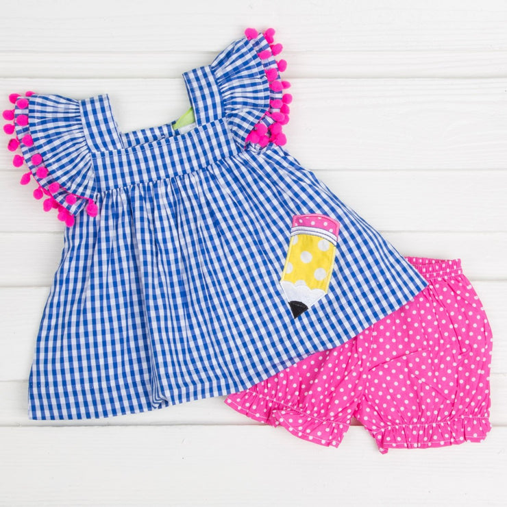Poppy Pencil Applique Bloomer Set Royal Gingham