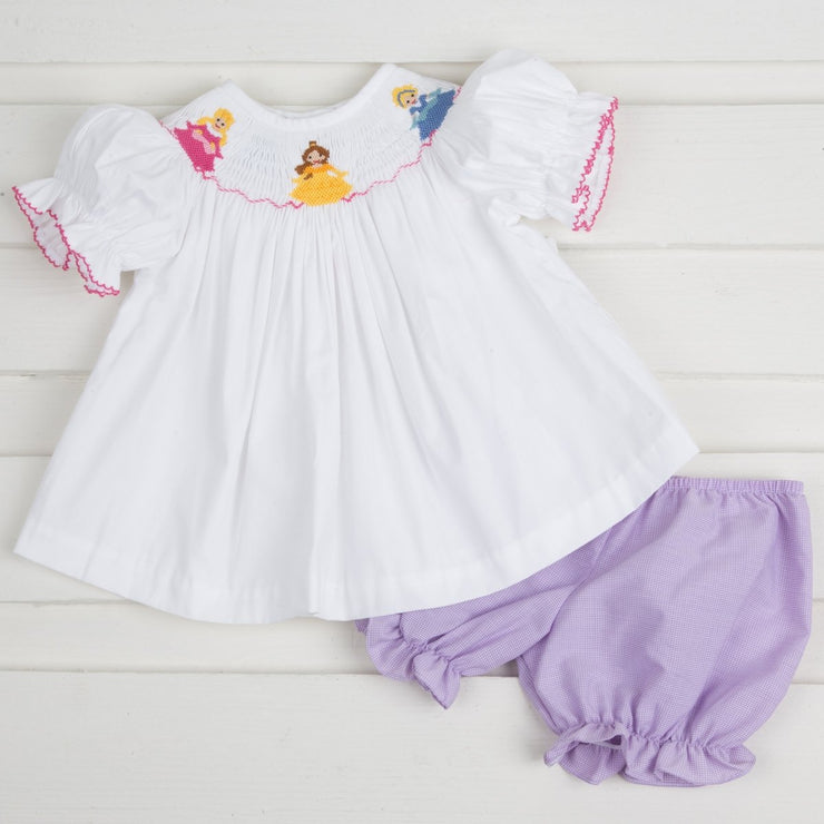 Princess Smocked Bloomer Set White and Lavender Micro Gingham