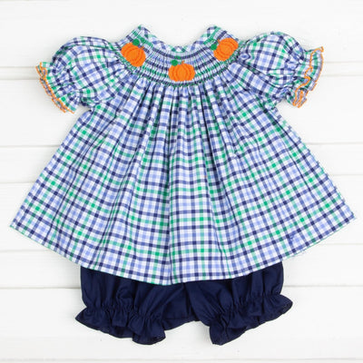 Pumpkin Smocked Bloomer Set Blue and Green Plaid