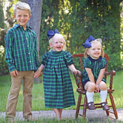 Sally Bloomer Set Royalton Plaid Green and Navy