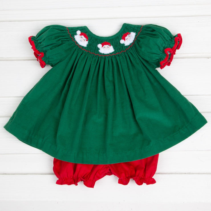 Santa Face Smocked Bloomer Set Green and Red Corduroy