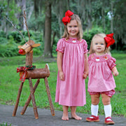 Santa & Reindeer Smocked Bloomer Set Red Gingham