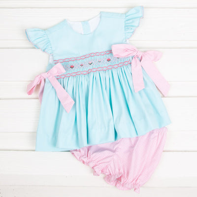 Smocked Beverly Bloomer Set Mint Pique