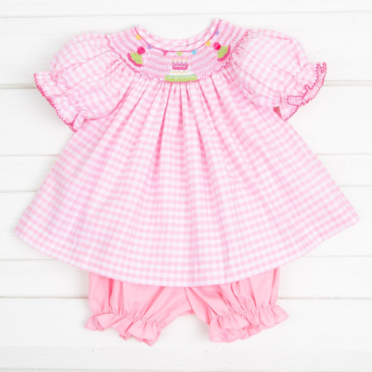 Smocked Birthday Party Bloomer Set Pink Check
