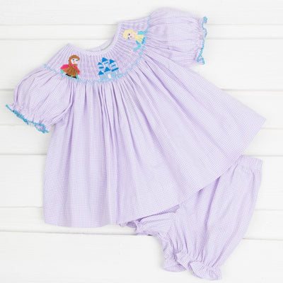 Smocked Ice Princess Bloomer Set Lavender Gingham