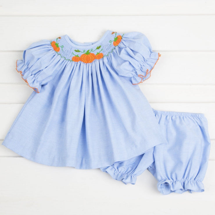 Smocked Pumpkin Cluster Chambray Bloomer Set