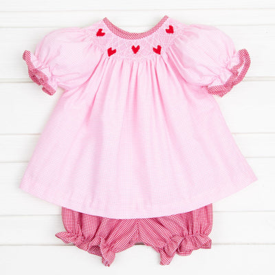 Tiny Heart Smocked Bloomer Set Light Pink Gingham