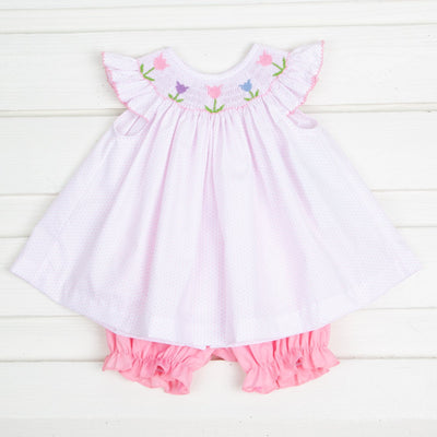 Tulip Smocked Bloomer Set Pink Dot