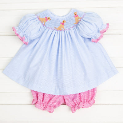 Yellow Lab Smocked Bloomer Set Light Blue Gingham