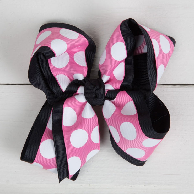 Black and Pink Polka Overlay Hair Bow
