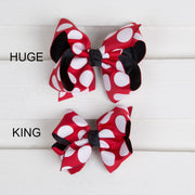 Black and Red Polka Dot Overlay Hair Bow