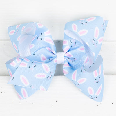 Blue Bunny Face Grosgrain Bow
