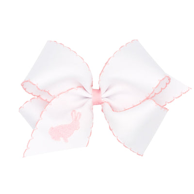 Bunny Embroidered Moonstitch Grosgrain Bow