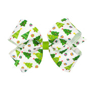 Christmas Tree Grosgrain Bow White