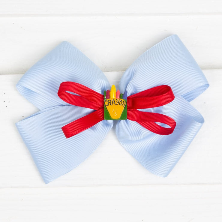 Crayon Bow Light Blue and Red