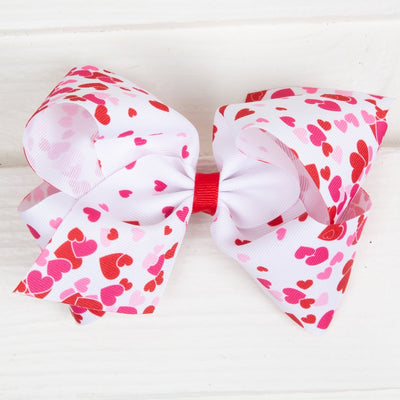 Darling Hearts Grosgrain Bow White