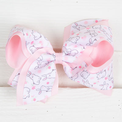 Easter Bunny Overlay Grosgrain Bow Light Pink