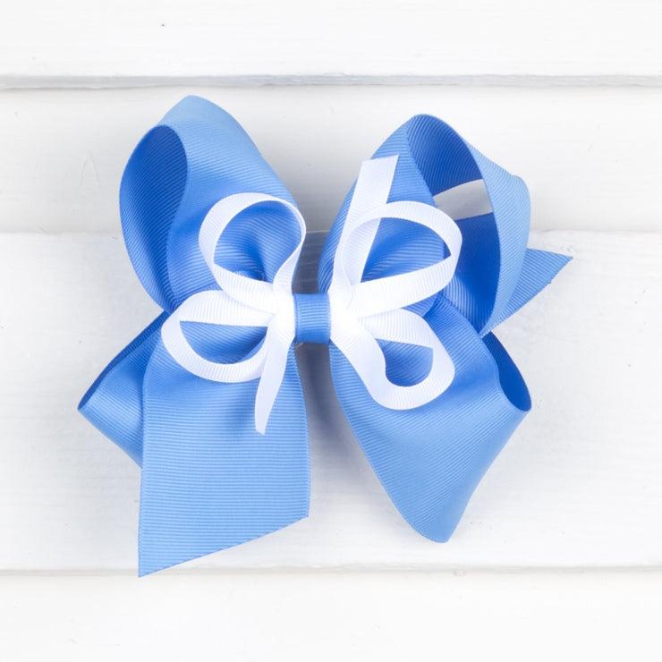 French Blue and White Medium Bow
