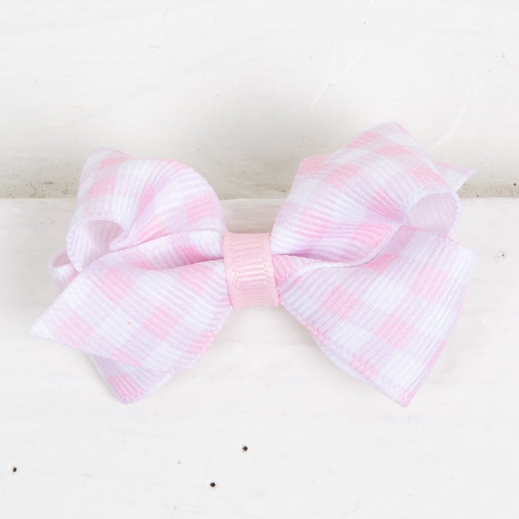 Gingham Grosgrain Wee Bow Light Pink