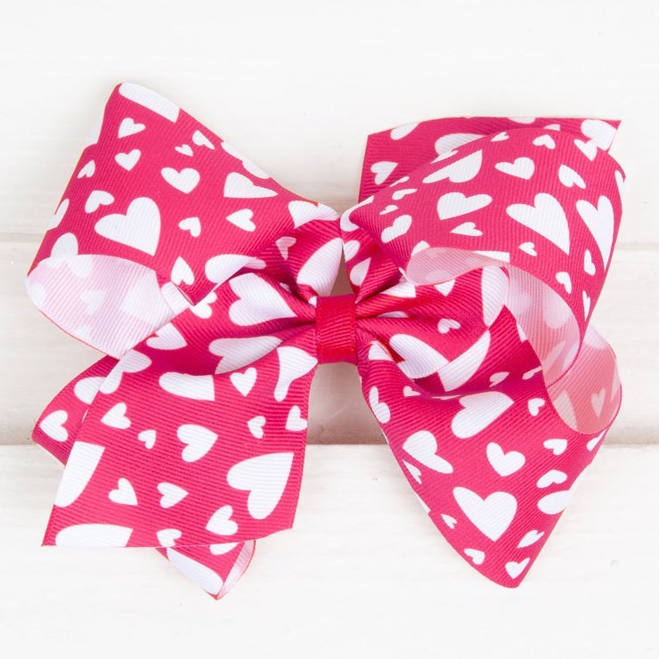 Hot Pink Heart King Bow