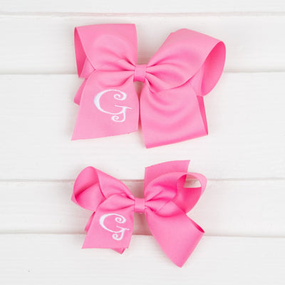 Hot Pink Monogram Initial Bow