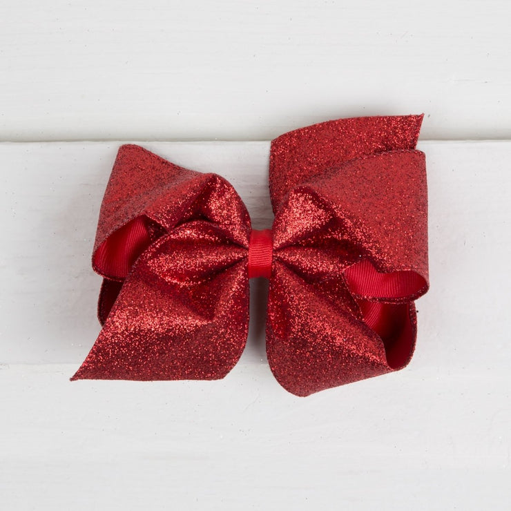 King Party Red Glitter Bow