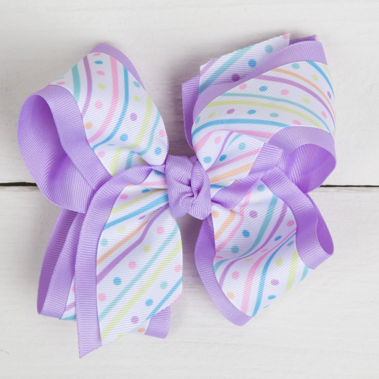 King Pastel Stripes and Polka Dots Overlay Hair Bow