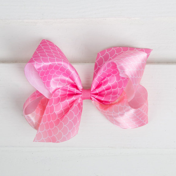 King Satin Mermaid Scale Pink Bow