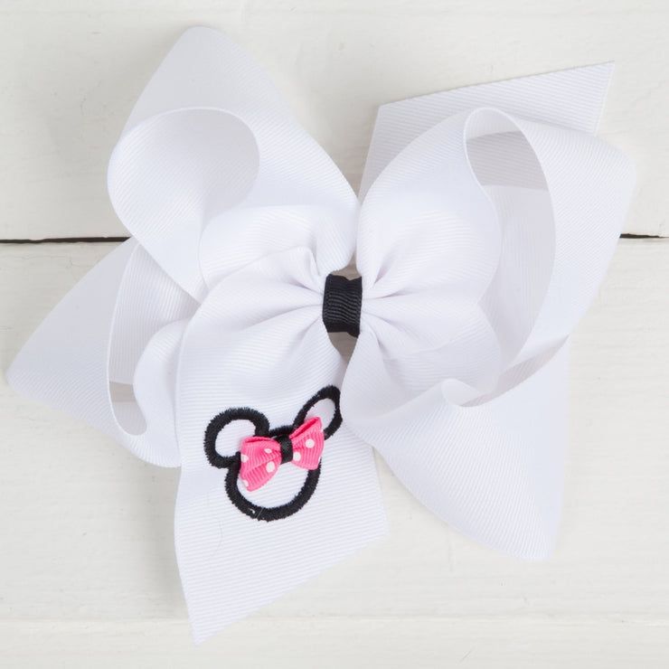 King White Monogrammed Mouse Ear Hair Bow