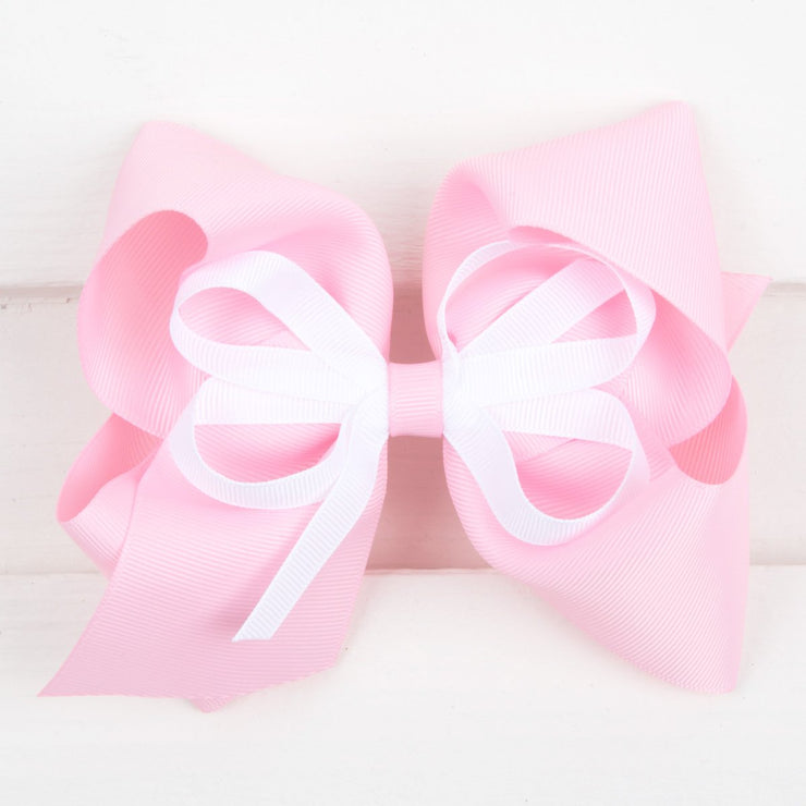 Light Pink and White Medium Bow