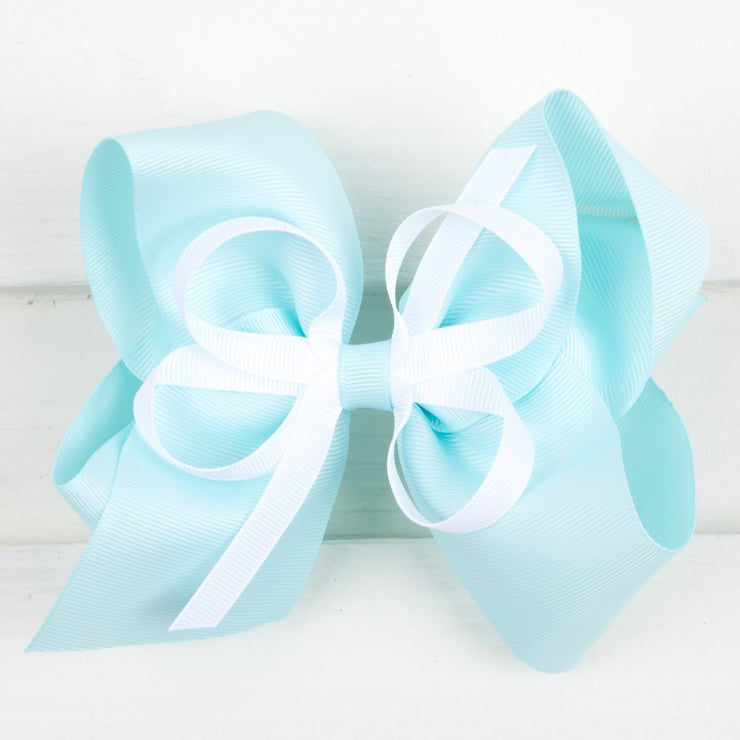 Mint and White Medium Bow