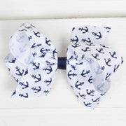 Navy Anchor Print Grosgrain Bow White