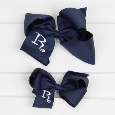 Navy Monogram Initial Bow