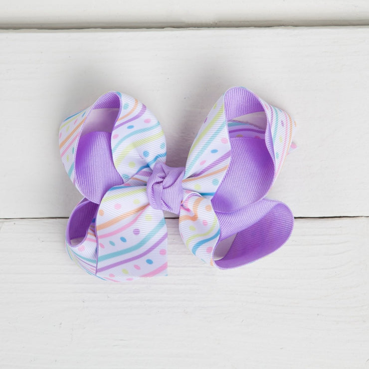 Pastel Stripes and Polka Dots Overlay Medium Hair Bow