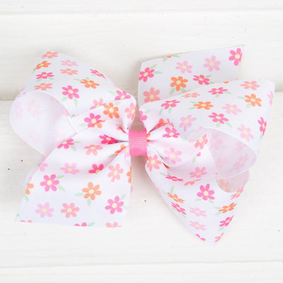 Pretty Daisy Grosgrain Bow White